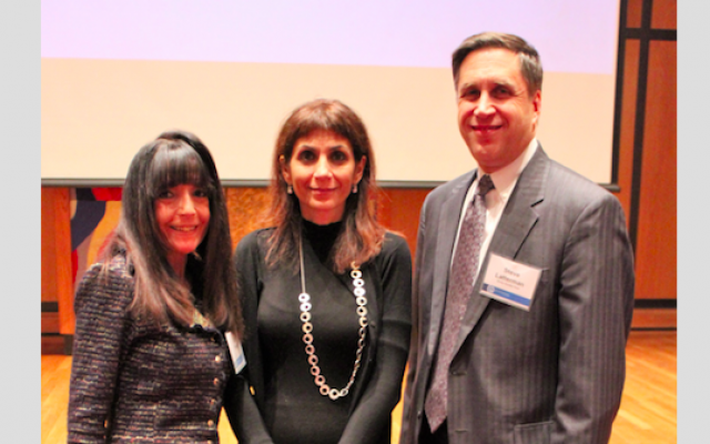Arielle Di Porto, center, joins event chairs Lori Plung and Steve Latterman. At the event, Di Porto shared experiences helping Jews make aliyah. (Photo courtesy of the Jewish Federation of Greater Pittsburgh)