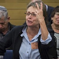 Leah Goldin, mother of late Israeli soldier Hadar Goldin, makes a point at a meeting in the Israeli parliament. (Photo by Hadas Parush/Flash90)