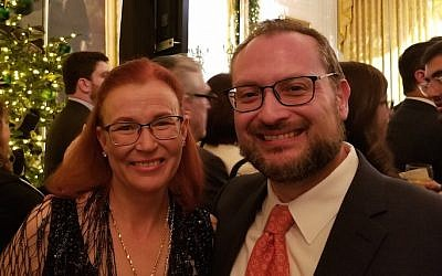 Rabbi David Kaufman and his wife, Julie, attending the White House Hanukkah party in Washington, D.C., Dec. 7, 2017. (Photo courtesy of Kaufman)