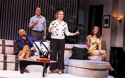 "From left, cast members of ""Meteor Shower"": Keegan-Michael Key, Jeremy Shamos, Amy Schumer and Laura Benanti. (Photo by Matthew Murphy)"