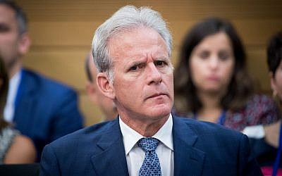 Michael Oren, the former Israeli ambassador to the United States and now a deputy minister in Israel's Cabinet, attends a meeting in the Israeli parliament. (Photo by Yonatan Sindel/Flash90)