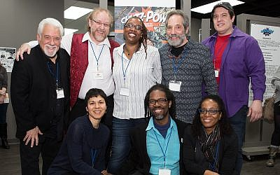 "A group shot of the creators behind ""CHUTZ-POW! Volume III."" Top row, from left: Mark Zingarelli, Wayne Wise, Deesha Philyaw, Howard Bender and Vince Dorse; bottom row, from left: Rachel Masilamani, Marcel Walker and Yona Harvey. Not pictured: Loran Skinkis. (Photo by Melanie Friend)"