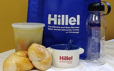 As part of the chicken soup hotline, this package is sent to a sick student by either staff or a fellow student from Hillel JUC. (Photo courtesy of Hillel JUC)