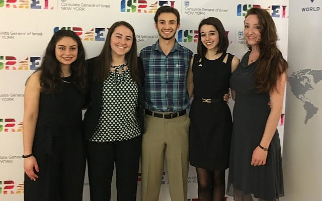 From left: Serena Mlawsky, Rayna Saltzman, Steven Field, Kathryn Fleisher and Elina Lipov, Jewish Agency Israel Fellow.  (Photo courtesy of Steven Field)