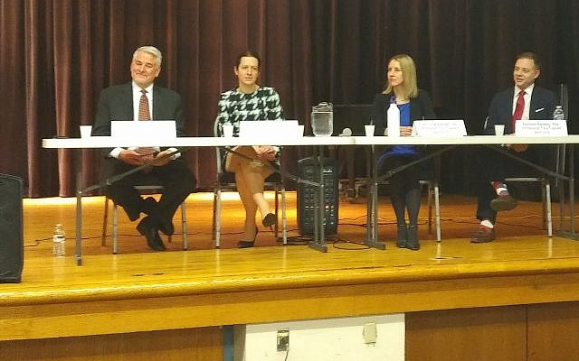 Candidates for the District 8 city council seat speak at a town hall-style meeting at the JCC of Greater Pittsburgh in Squirrel Hill. (Photo by Adam Reinherz)