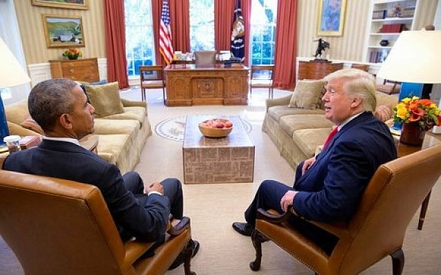 President Barack Obama sits with then President-elect Donald Trump in the Oval Office, Nov. 10, 2016. (Photo from Wikimedia Commons)