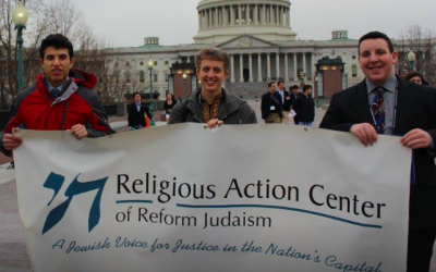 From left: Jacob Brand, Rabbi Barbara Symons and Aaron Sloan participated in the L'taken Social Justice Seminar of the Religious Action Center for Reform Judaism. (Photo courtesy of Barbara Symons)