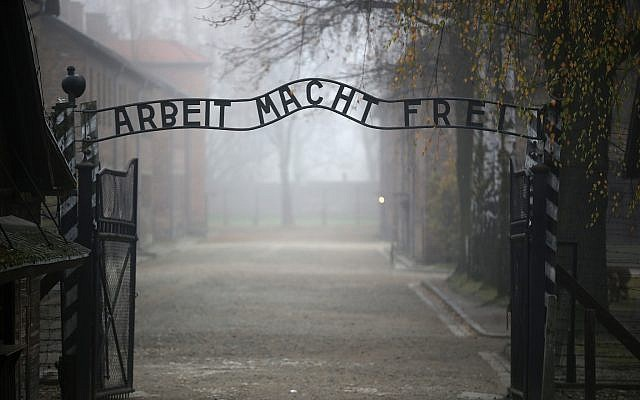 The main gate of the former Auschwitz extermination camp in Oswiecim, Poland. (Photo by Christopher Furlong/Getty Images)