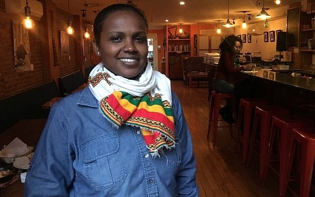 Beejhy Barhany and her husband, Padmore John, celebrate Ethiopian, Israeli and American cultures through their food at Tsion Cafe. (Photo by Josefin Dolsten)