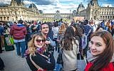 Participants of Russia's Eurostar program gather at the Louvre Museum in Paris. (Photo courtesy of Yachad)