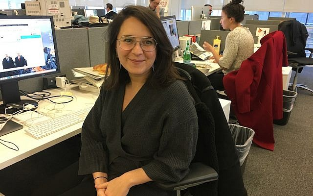 Bari Weiss at her desk in The New York Times office in Midtown Manhattan. (Photo by Josefin Dolsten)