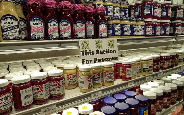 A selection of kosher for Passover horseradish spreads at Murray Avenue Kosher. (Photo by Adam Reinherz)