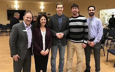 Conor Lamb, center, at a South Hills JCC debate. (Photo courtesy of Rob Goodman / South Hills JCC)