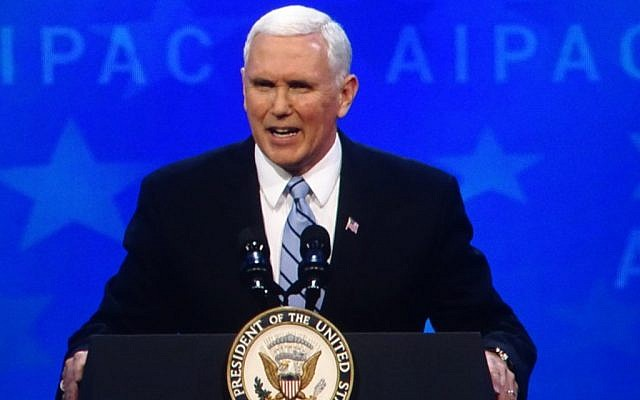 Vice President Mike Pence speaks at the AIPAC policy conference in Washington Monday night. (Photo by Jared Foretek)