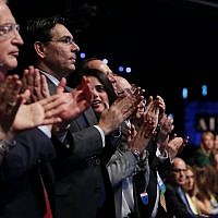 From left to right: U.S. Ambassador to Israel David Friedman, Israeli Ambassador to the U.N. Danny Danon and Israeli Minister of Justice Ayelet Shaked applaud for Vice President Mike Pence as he addresses the AIPAC policy conference in Washington, D.C., March 5, 2018. (Photo by Chip Somodevilla/Getty Images)