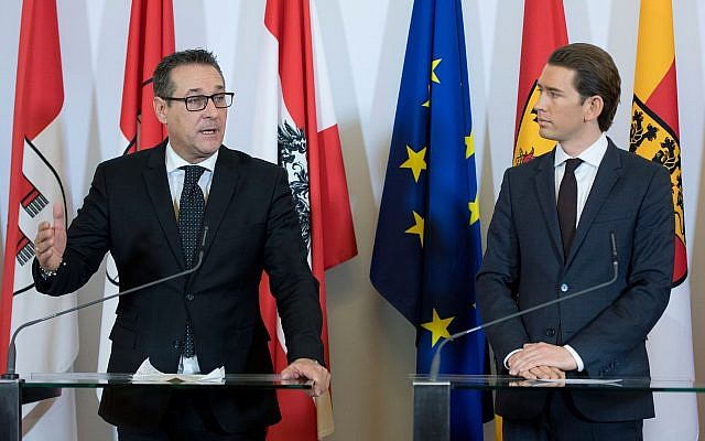 Vice-Chancellor Heinz-Christian Strache, left, of the Freedom Party and Chancellor Sebastian Kurz of the Austrian People's Party speak at a news conference in Vienna after their first Cabinet meeting. (Photo by Joe Klamar/AFP/Getty Images)