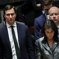 Jared Kushner, left, at a U.N. conference in New York with U.S. Ambassador to the United Nations Nikki Haley and his fellow Middle East peace negotiator Jason Greenblatt. (Photo by Drew Angerer/Getty Images)