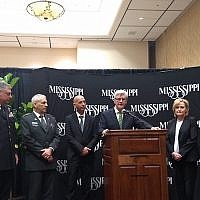 Mississippi Gov. Phil Bryant at a press conference with Israeli officials at the Homeland Defense and Security Summit in Biloxi, March 13, 2018. (Photo by Ben Sales)