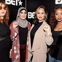 The organizers of the Women's March pose for a photo in Atlanta at BET's Social Awards: Bob Bland, Linda Sarsour, Carmen Perez and Tamika Mallory. (Photo by Paras Griffin / Getty Images for BET)