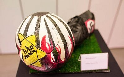 "The exhibition at River Plate's museum includes six illustrated soccer balls. This one was by Gustavo Nemirovsky. (Photo by Tabare da Ponte/Courtesy of ""No Fue un Juego"")"