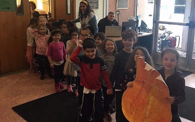 "The students at Hillel Academy ""leaving Egypt."" (Photo courtesy of Hillel Academy)"