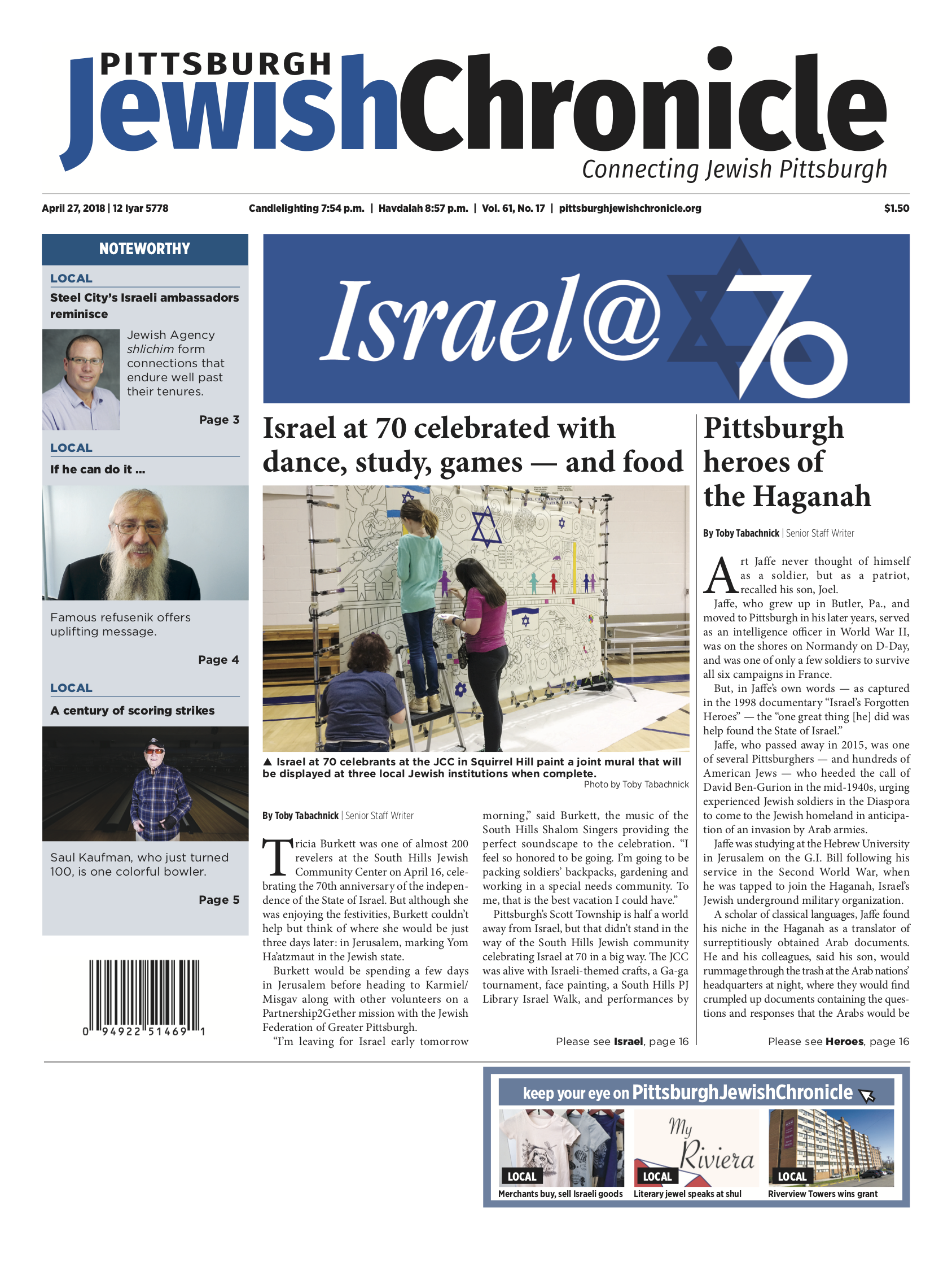 Pittsburgh Jewish Chronicle 4/27/2018