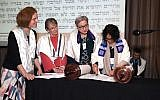 A Torah reading at the Central Conference of American Rabbis' annual convention in Irvine, California, held March 19-21, 2018. CCAR is the rabbinic arm of the Reform movement. (Photo courtesy of CCAR)