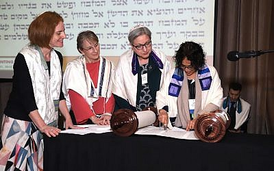 The holiday of Shavuot celebrates the Jews receiving the Torah. Pictured is a Torah reading at the Central Conference of American Rabbis' annual convention in Irvine, California, held March 19-21, 2018. CCAR is the rabbinic arm of the Reform movement. (Photo courtesy of CCAR)