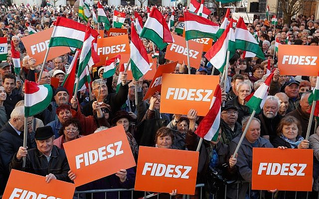 Supporters of the Fidesz party at a campaign closing rally in Szekesfehervar, Hungary.	(Photo by Laszlo Balogh/Getty Images)