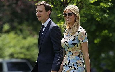 Jared Kushner and Ivanka Trump on the South Lawn prior to their departure from the White House, May 19, 2017. (Photo by Alex Wong/Getty Images)