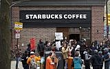 Protestors demonstrating outside a Starbucks in Philadelphia, April 15, 2018. (Photo by Mark Makela/Getty Images)