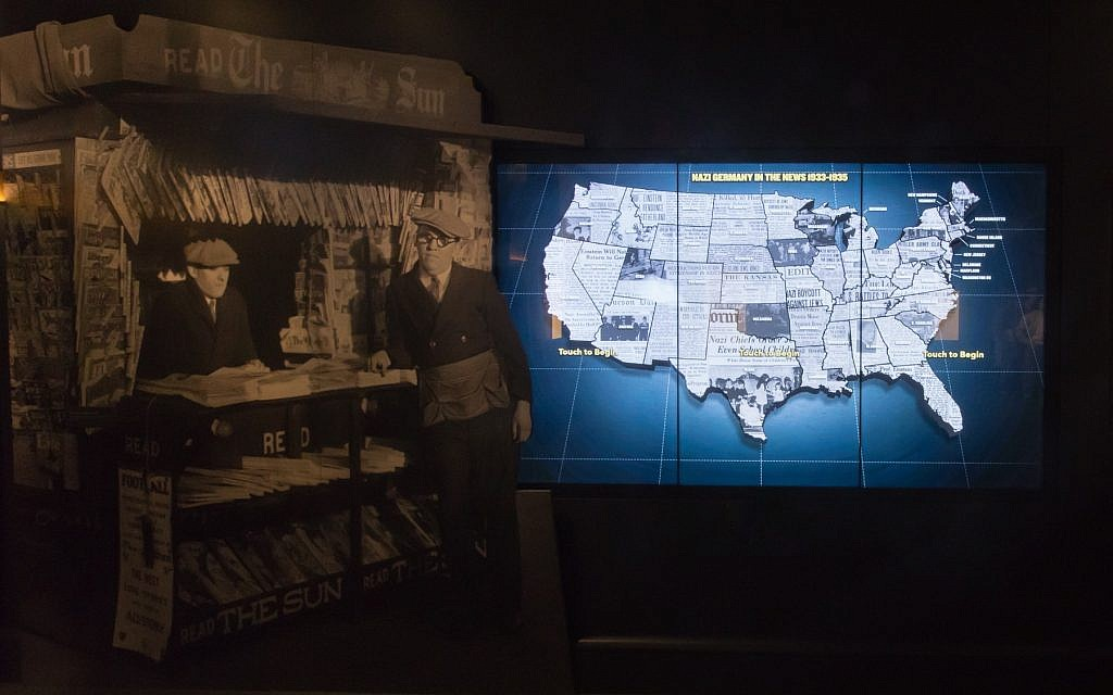 "A portion of the exhibit ""Americans and the Holocaust,"" which shows how the Depression, isolationism, xenophobia, racism, and antisemitism shaped responses to Nazism and the Holocaust.  (Photo courtesy of the U.S. Holocaust Memorial Museum)"