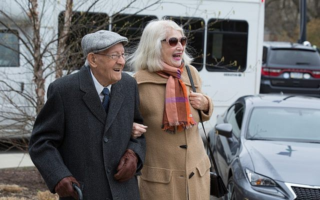 Manny Kolski and Solange Leibovitz, two of the local survivors who were in attendance. (Photo courtesy of the Holocaust Center of Pittsburgh)