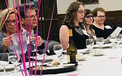 From left: Temple Sinai members Carol and Rick Rosenthal, Rabbi Keren Gorban, Laura Fehl with Deb Scheib from Temple David. (Photo courtesy of Temple Sinai)