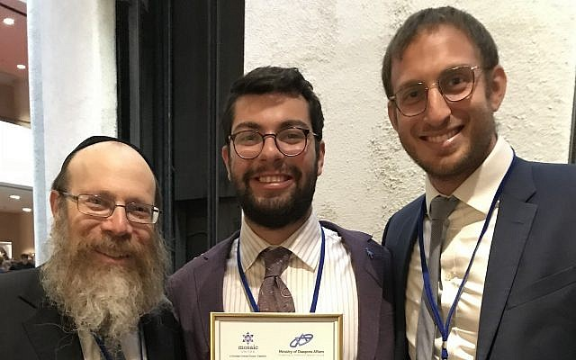 From left: Rabbi Shmuel Weinstein, director of Chabad House on Campus, Gabe Kaufman and Benjamin Levy, CEO of Mosaic International. (Photo courtesy of Chabad House on Campus)