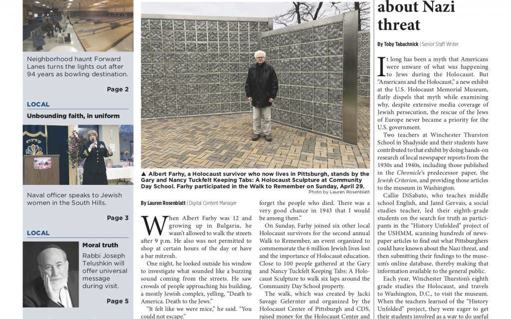 Pittsburgh Jewish Chronicle 5/4/2018