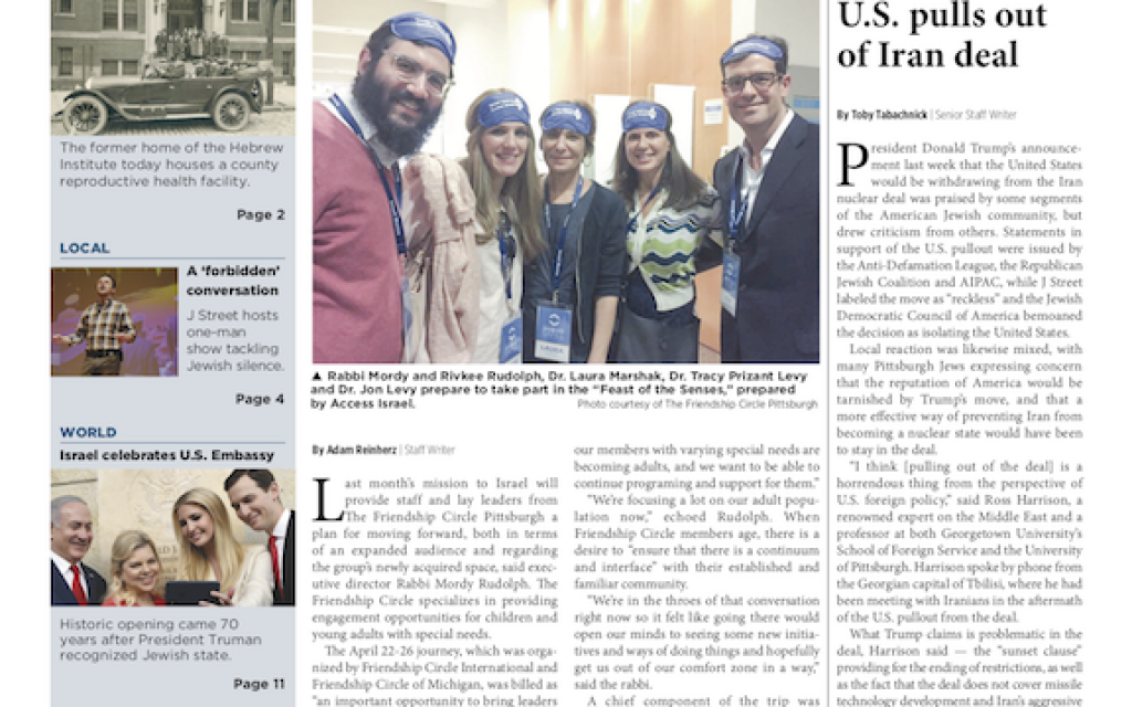 (Pittsburgh Jewish Chronicle 5/18/2018)
