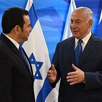 Guatemalan President Jimmy Morales, left, meets at the Prime Minister's Office in Jerusalem with Benjamin Netanyahu on May 16, 2018, after the dedication of his country's embassy in the city. (Photo by Mark Neiman/GPO)
