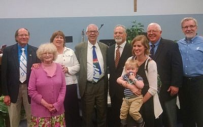 From left: Rev. Jeff Berg, Arlene Berg, Friends of Israel team member, Rabbi Eli Seidman, Stuart Pavilack, Friends of Israel team member, Rev. Patrick Neff, Friends of Israel team member. (Photo courtesy of Zionist Organization of America: Pittsburgh)