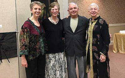 From left: Rabbi Barbara Symons, chairpersons Carol and Bob Gordon and docent Laura Kruger at Temple David's Art in Residence program. (Photo courtesy of Temple David)