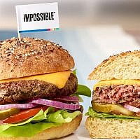"The Impossible Burger has made waves for ""bleeding"" like a normal beef patty. (Photo courtesy of Leo Gong/Impossible Foods)"