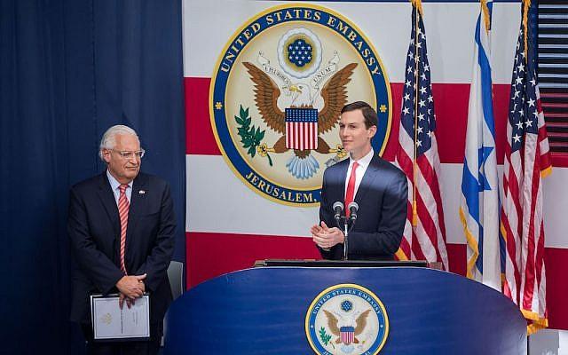 Jared Kushner speaking while U.S. Ambassador to Israel David Friedman looks on at the opening ceremony of the U.S. embassy in Jerusalem, May 14, 2018. (Photo by Yonatan Sindel/Flash90)