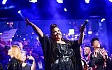 Netta Barzilai, the winner of this year's Eurovision contest, performing at Rabin Square in Tel Aviv, May 14, 2018. (Photo by Tomer Neuberg/Flash90)