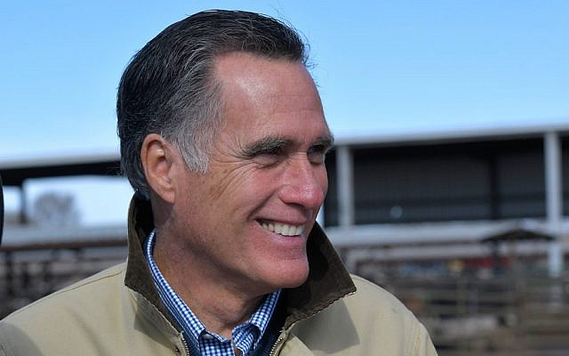 Mitt Romney touring a dairy farm in Ogden, Utah, Feb. 16, 2018. (Photo by Gene Sweeney Jr./Getty Images)