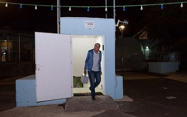 A man seen at the entrance to a bomb shelter that was open in the Golan Heights, in northern Israel, May 8, 2018. (Photo by Basel Awidat/Flash90)