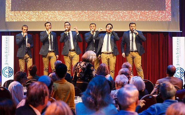 Kippalive, an Israeli a cappella group, provided musical interludes at the sold out CELEBRATION! Event. (Photo by David Bachman)