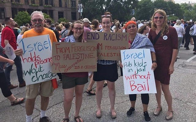 Members of the Presbyterian Church USA's Israel/Palestine Mission Network showing solidarity with the Palestinians outside of the General Assembly in St. Louis. (Photo from Facebook)