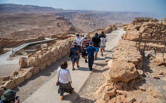 Participants on a mission to Israel hike in the Negev. (Photo by Nechama Marcus)