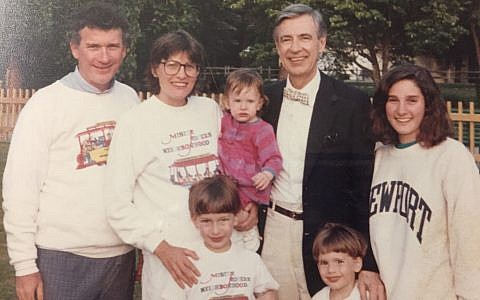 Cathy Cohen Droz and her family pose for a photo with Fred Rogers in 1991. (Photo courtesy of Cathy Cohen Droz)