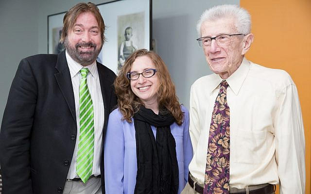 From left: Paul Guggenheimer, Holocaust Center Director Lauren Bairnsfather and James Guggenheimer. (Photo by Melanie Friend)